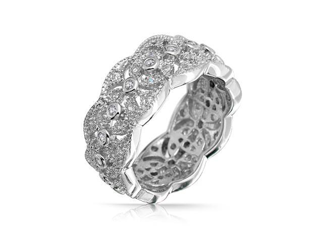 Christmas Gifts Sterling Silver CZ Vintage Style Leaf Band Ring