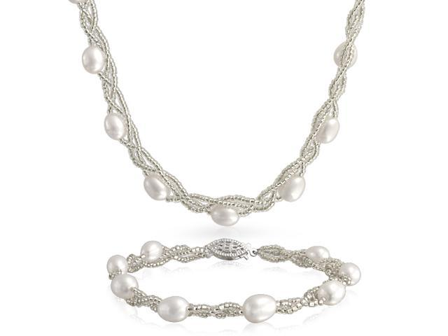 Bling Jewelry Silver Plated Baroque Freshwater Cultured Pearl Necklace and Bracelet Set