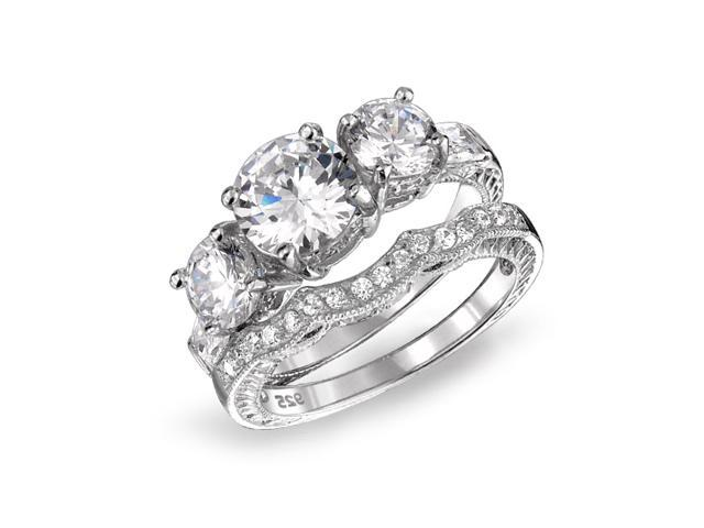 Valentine Gifts 925 Sterling Silver CZ Three Stone Wedding Engagement Ring Set Vintage Style