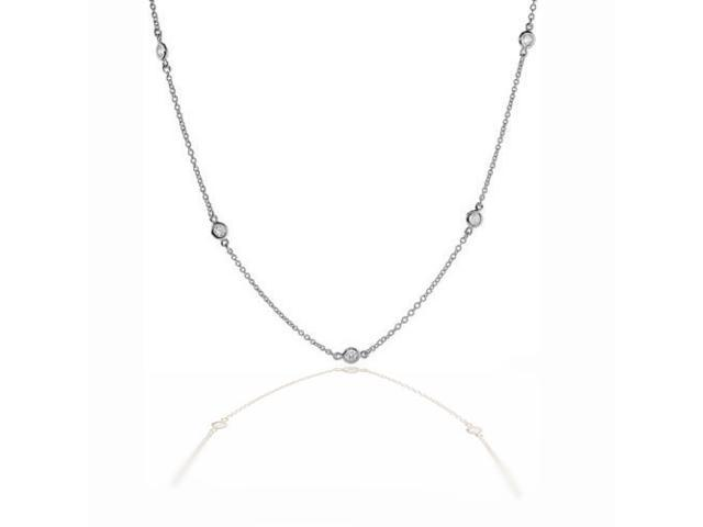 Bling Jewelry By The Inch Sterling Silver CZ Florence Station Necklace 20in