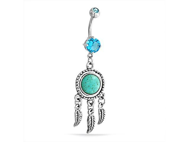 Christmas Gifts Simulated Turquoise Dream Catcher Dangle Belly Ring Steel 14G