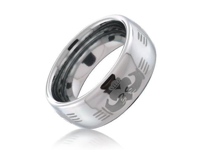 Christmas Gifts Claddagh Celtic Hand Design Tungsten Ring 8mm