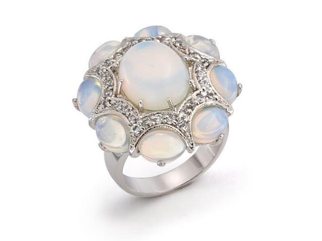 Christmas Gifts Vintage Style CZ Simulated Opalite Glass Statement Cocktail Ring Rhodium Plated