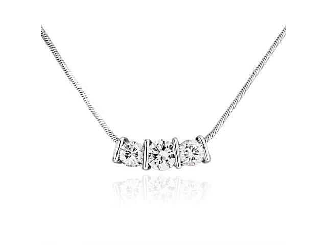 Bling Jewelry Bar Set CZ Past Present Future Slider Necklace Silver Plated
