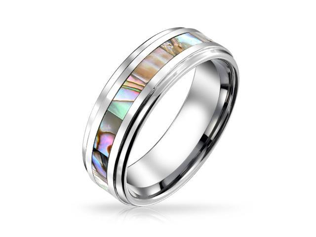 Valentine Gifts Unisex Tungsten Wedding Band Abalone Shell Inlay Ring 8mm