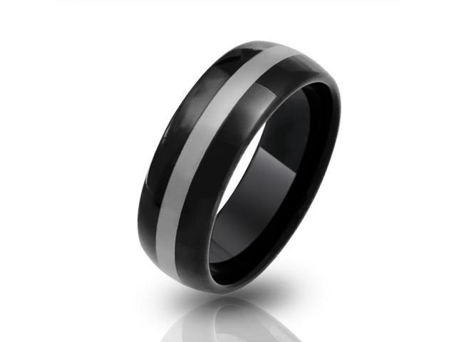 Christmas Gifts Black Mens Curved Tungsten Wedding Band Ring 8mm