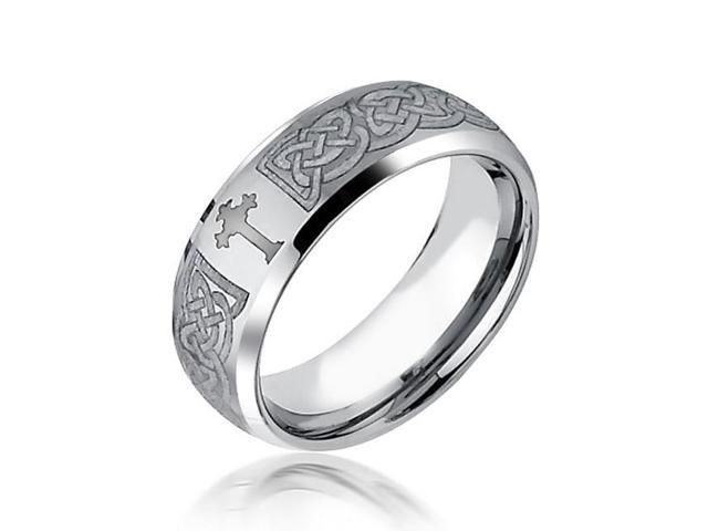 Christmas Gifts Celtic Cross Design Curved Brushed Tungsten Ring 8mm