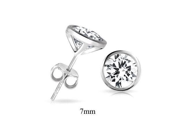 Bling Jewelry Mens CZ Martini Set Bezel Sterling Silver Stud Earrings 7mm