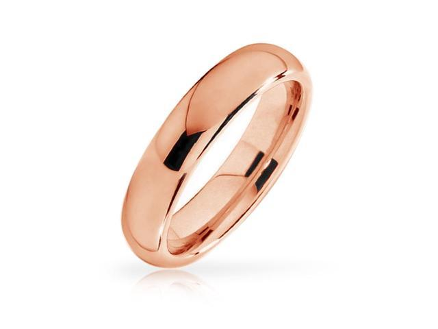 Bling Jewelry Unisex Rose Gold Plated Tungsten Wedding Band Ring Comfort Fit 4mm