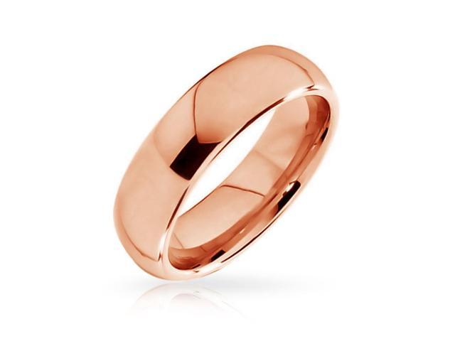 Valentine Gifts Rose Gold Plated Unisex Tungsten Wedding Band Comfort Fit Ring 6mm
