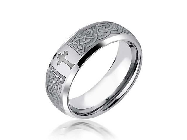 Bling Jewelry Celtic Cross Design Curved Brushed Tungsten Ring 8mm