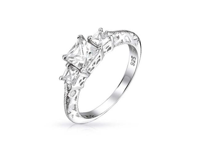 Bling Jewelry Three Stone Princess Cut CZ Vintage Style 925 Sterling Silver Engagement Ring
