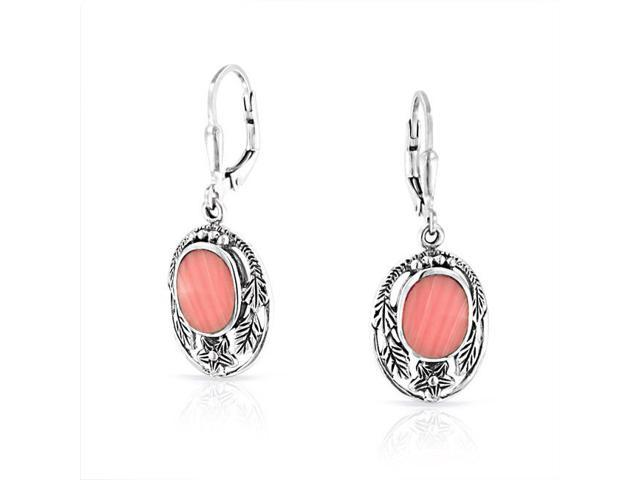 Pink Synthetic Coral Flower Leaf Silver Leverback Earrings