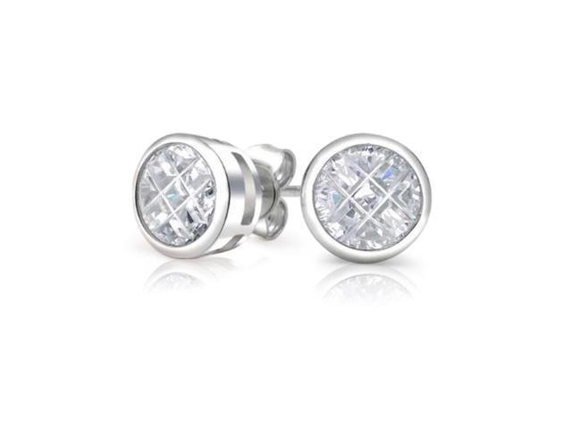 Bling Jewelry Sterling Silver Invisible Cut CZ Stud Earrings 10mm