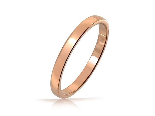 Bling Jewelry Rose Gold Plated Tungsten Wedding Band 2mm