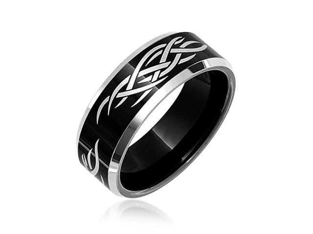 Bling Jewelry Mens Laser Etched Tribal Design Black Tungsten Ring 8mm-14