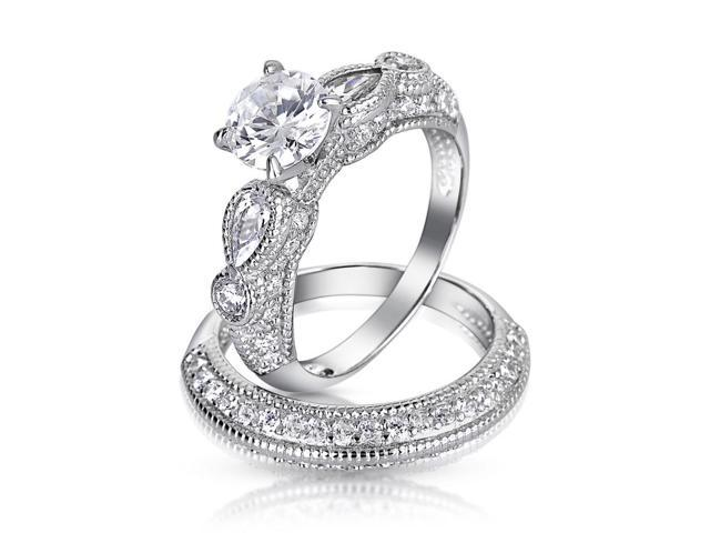 Christmas Gifts 925 Sterling Silver Vintage Style CZ Round Teardrop Wedding Engagement Ring Set