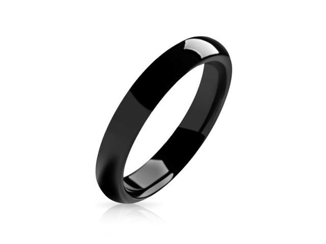 Bling Jewelry Black Tungsten Unisex Ring 4mm