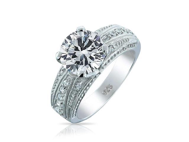 Valentine Gifts Vintage Style .925 Sterling Silver CZ 4 Prong Round Engagement Ring