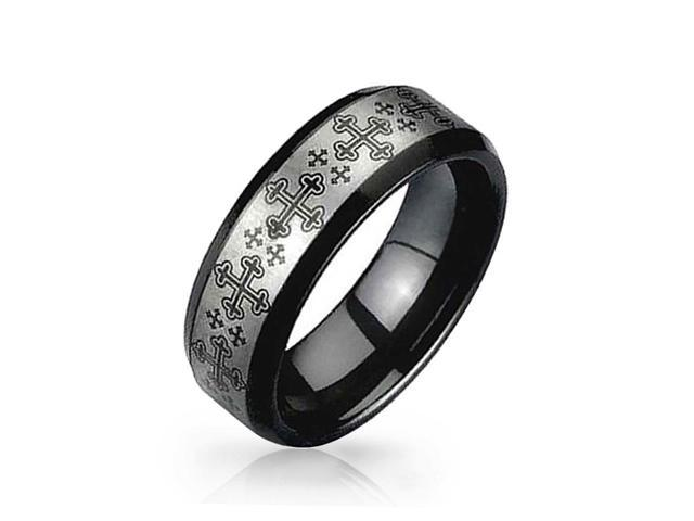 Christmas Gifts Medieval Cross Black and Tungsten Ring 8mm Silver Plated