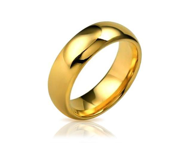 Valentine Gifts Gold Plated High Polish Comfort Fit Tungsten Wedding Band