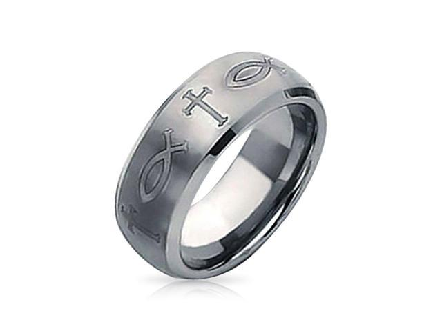 Christmas Gifts Ichthys and Cross Symbol Tungsten Wedding Band Ring 8mm