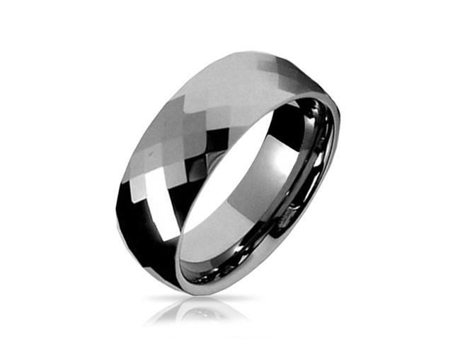 Valentine Gifts Multi faceted Tungsten Wedding Band Ring 8mm