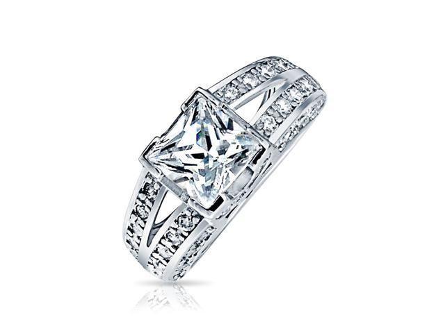 Valentine Gifts Sterling Silver Vintage Style CZ Double Shank Princess Cut Engagement Ring