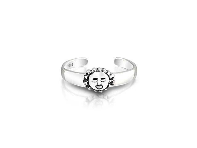 Christmas Gifts Adjustable Toe Rings 925 Sterling Silver Summer Sun Midi Ring