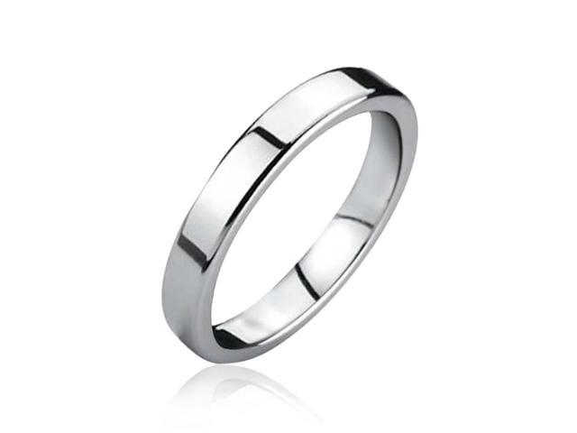 Bling Jewelry Unisex Polished Tungsten Flat Wedding Band Ring 3mm