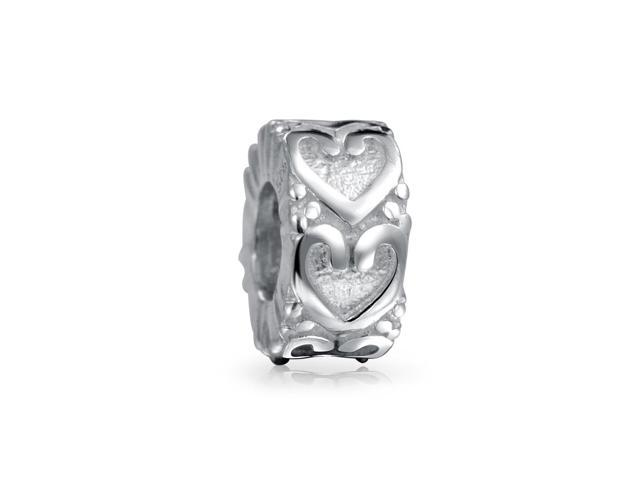 Bling Jewelry Vintage Style 925 Silver Heart Bead Fits Pandora Charms