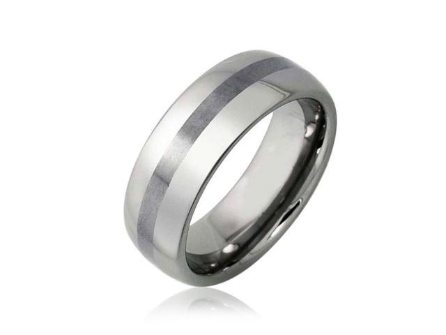 Bling Jewelry Matte Stripe Unisex Tungsten Wedding Band Ring 8mm