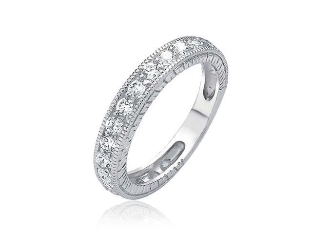 Bling Jewelry 925 Sterling Silver CZ Vintage Style Milgrain Wedding Band
