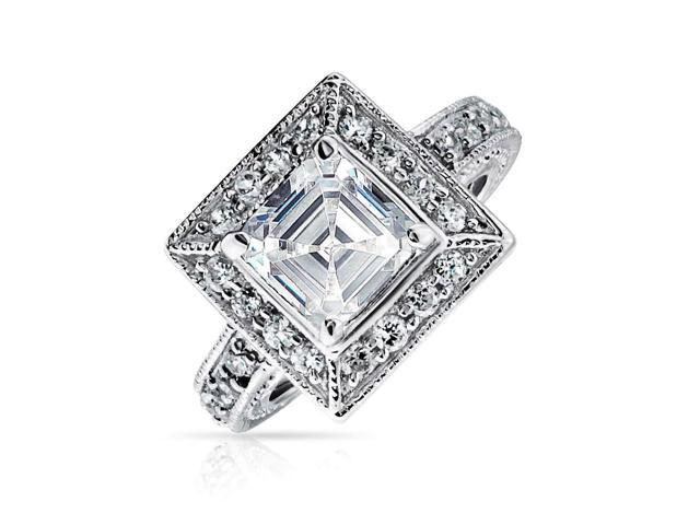 Bling Jewelry Silver Vintage Style Asscher Cut CZ Milgrain Engagement Ring