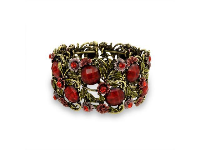 Bling Jewelry Simulated Garnet Crystal Flower Cuff Bracelet Gold Plated