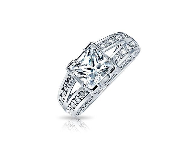Bling Jewelry Sterling Silver Vintage Style CZ Double Shank Princess Cut Engagement Ring