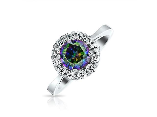 Bling Jewelry 925 Silver Crown Simulated Rainbow Topaz CZ Engagement Ring
