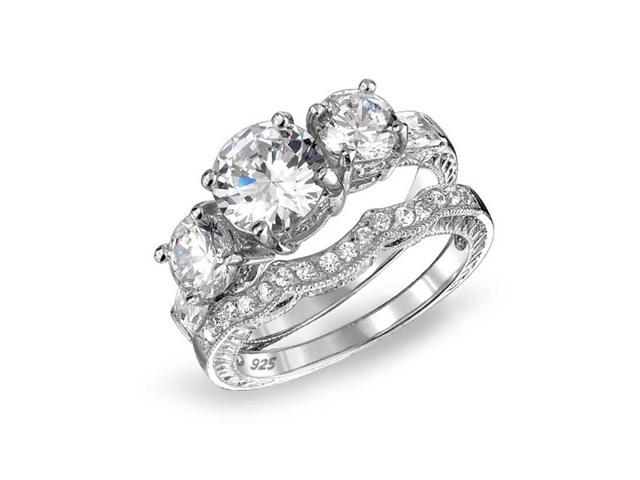 Bling Jewelry 3 Stone CZ Wedding Engagement Ring Set Vintage Style Silver