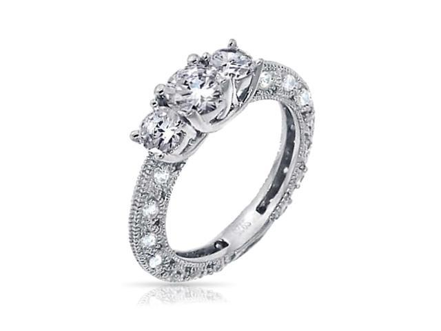 Bling Jewelry Vintage Style Round 925 Silver CZ Engagement Ring 1.25ct