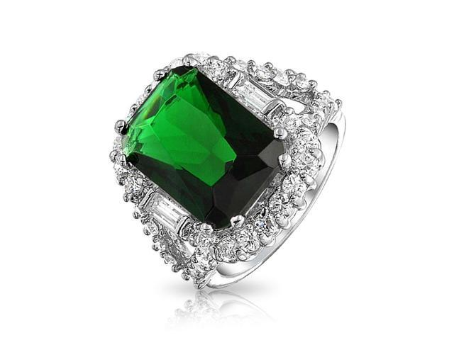 Bling Jewelry Radiant Cut Simulated Emerald Engagement Ring Rhodium Plated