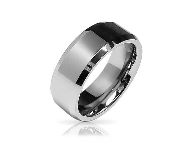 Bling Jewelry Gift Beveled Edge Center Comfort Fit Tungsten Wedding Band 8mm