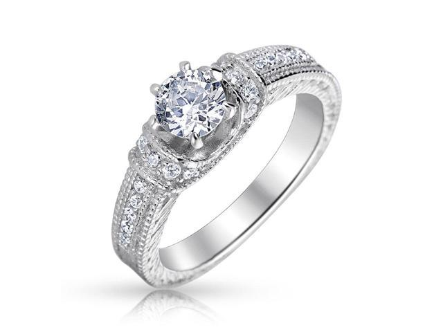 Bling Jewelry 925 Silver Vintage Style CZ 1.00ct Round Stone Engagement Ring