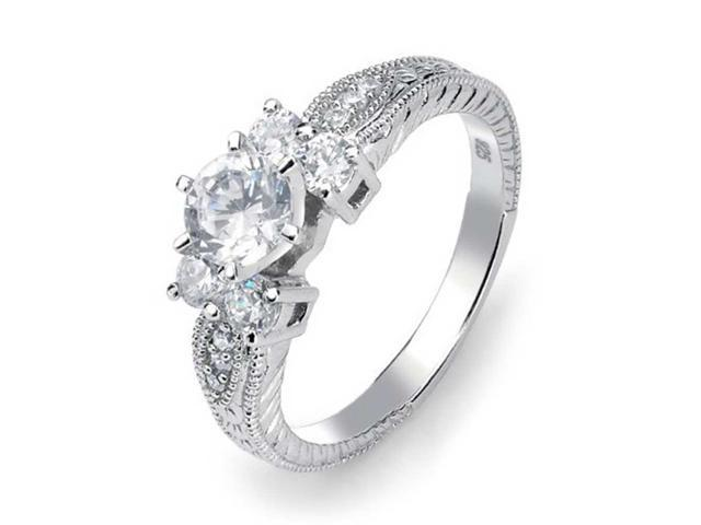Bling Jewelry 925 Silver Vintage Style .75ct Round Brilliant CZ Engagement Ring