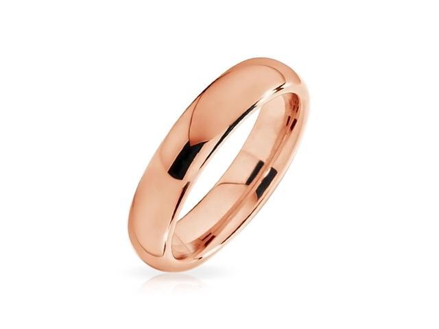 Bling Jewelry Unisex Rose Gold Plated Tungsten Wedding Band Ring 4mm