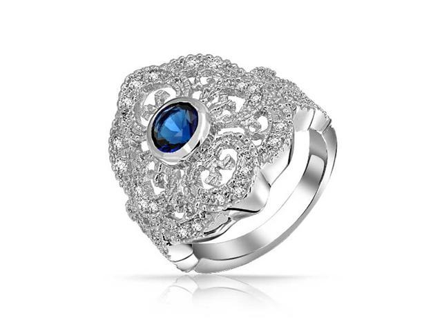 Bling Jewelry Blue Simulated Sapphire CZ Heart Armor Ring Rhodium Plated