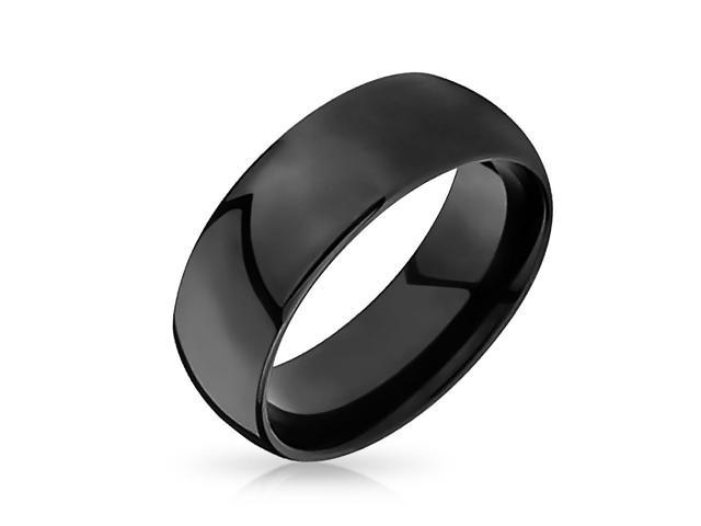 Bling Jewelry Black Tungsten Mens Wedding Band Ring 8mm