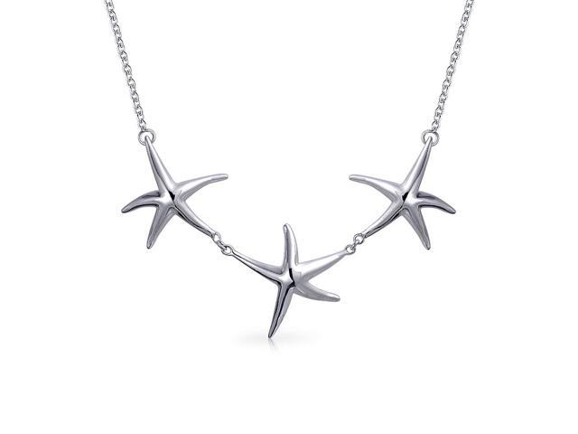 Bling Jewelry 925 Sterling Silver Starfish Trio Of Charms Necklace 16in