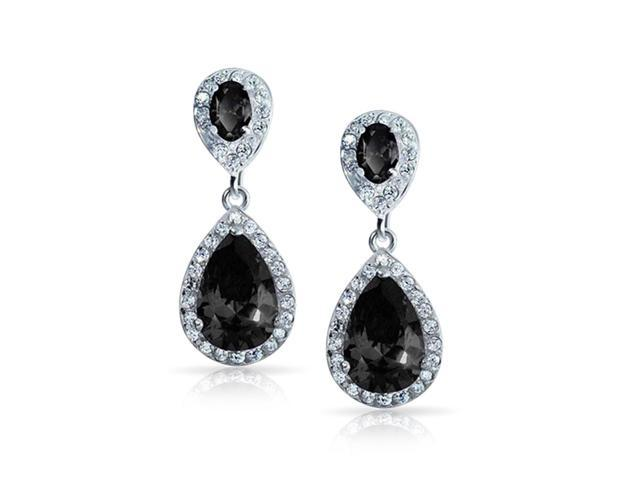 Bling Jewelry Simulated Onyx CZ Double Teardrop Earrings Rhodium Plated