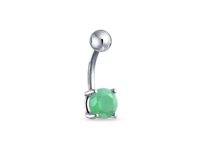 Bling Jewelry 316L Steel Green Adventurine Belly Button Ring Body Jewelry