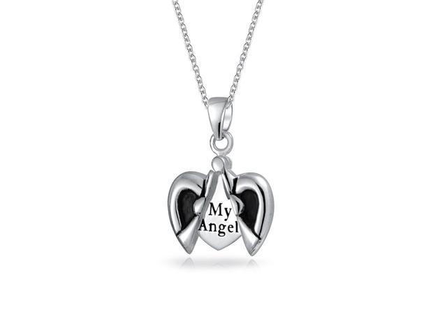Praying My Angel Wing Heart Pendant 925 Silver Necklace 18in